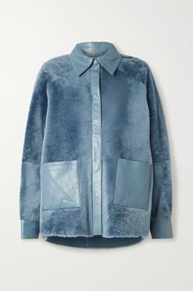 REMAIN Birger Christensen Beiru Leather-trimmed Shearling Jacket - Azure