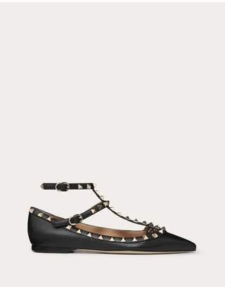 Valentino Garavani Rockstud Grainy Calfskin Ankle Strap Ballet Flat
