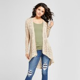 Almost Famous Women's Pointelle Tie Back Duster Cardigan Juniors') Beige