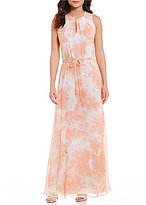 Calvin Klein Printed Chiffon Maxi Dress