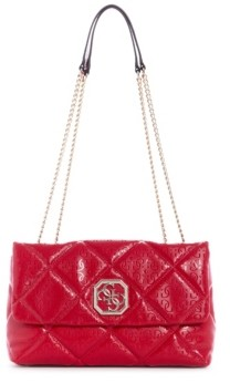 GUESS Dilla Quilted Logo Convertible Flap Crossobdy