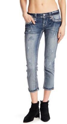 Rock Revival Embroidered Cropped Skinny Jeans