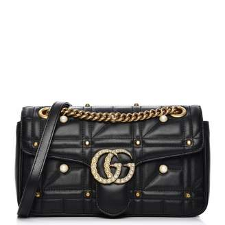 Gucci GG Marmont Shoulder Bag Matelasse Pearl Studded Small Black