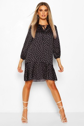 boohoo Peplum Hem Polka Dot Smock Dress