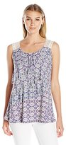 Notations Women's Sleeveless Asymetrical Layer Printed Blouse with Crochet Trim