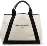 Balenciaga Cabas Leather-trimmed Canvas Tote - Cream