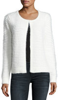 Neiman Marcus Fuzzy Stripe-Knit Cardigan