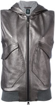Eleventy sleeveless hooded jacket - women - Leather/Polyester - 42