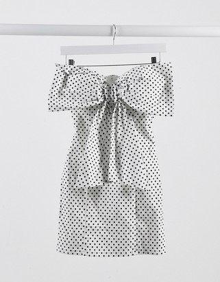 Rare London bow detail mini dress in polka dot