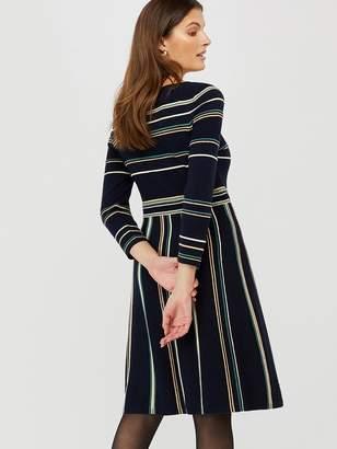Monsoon Ayanna Stripe Dress - Navy