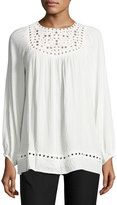 Max Studio Long-Sleeve Embroidered-Cut Top, Ivory