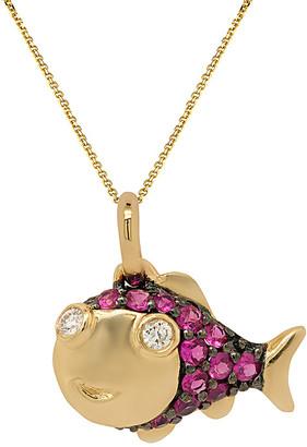Diana M Fine Jewelry 14K 0.21 Ct. Tw. Diamond & Sapphire Necklace