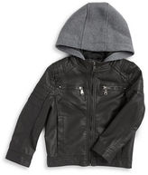 Urban Republic Boys 2-7 Hooded Faux Leather Jacket