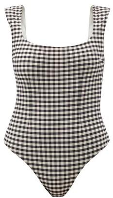 Haight Brigitte Gingham-check Jersey Swimsuit - Black White