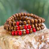 Men's Handcrafted Wood Bead Stretch Bracelets (Set of 3), 'Red on Brown Spirituality'
