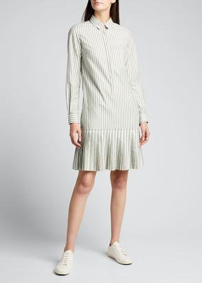 Akris Punto Striped Long-Sleeve Poplin Shirtdress