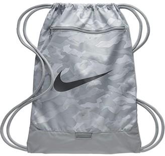 Nike Brasilia All Over Print Gym Sack - 9.0 (Light Smoke Grey/Metallic Cool Grey) Backpack Bags