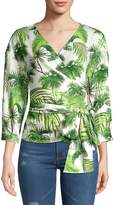 Lea & Viola Women's Tropical V-Neck Top