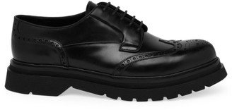Prada Spazzolato Rois Leather Derby Dress Shoes