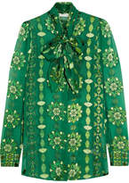 Pierre Balmain Pussy-bow Printed Burnout Chiffon Blouse - Emerald