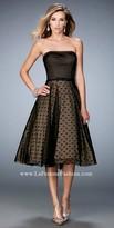 La Femme Strapless Mixed Media Prom Dress
