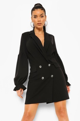 boohoo Ruched Sleeve Blazer Dress