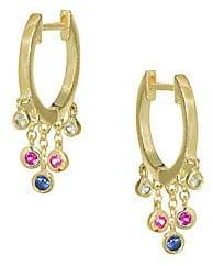 Meira T Women's Tri-Color Sapphire & 14K Yellow Gold Huggie Earrings