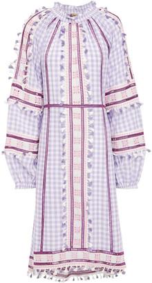 Dodo Bar Or Alexa Broderie Anglaise-trimmed Checked Cotton-gauze Midi Dress