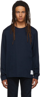 Thom Browne Navy Relaxed Fit Long Sleeve T-Shirt