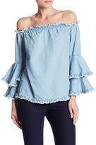 ECI Off-the-Shoulder Frayed Denim Blouse