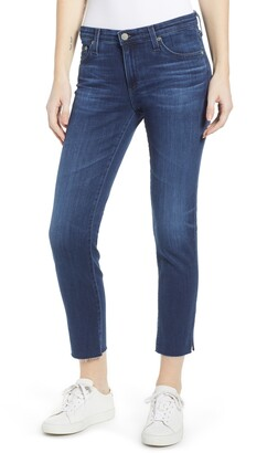 AG Jeans The Prima Mid Rise Raw Hem Crop Cigarette Jeans