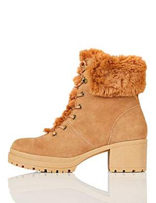 find. Mid Height Faux Fur Lace Up Ankle Boots, Brown Tan)