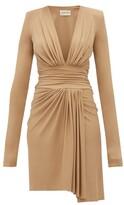 Alexandre Vauthier Draped Plunge-neckline Crepe Dress - Womens - Beige