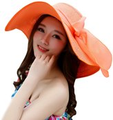 SHINA Women Ribbon Derby Hat Floppy Wide Brim Hat Large Beach Hat UV Sun Hat
