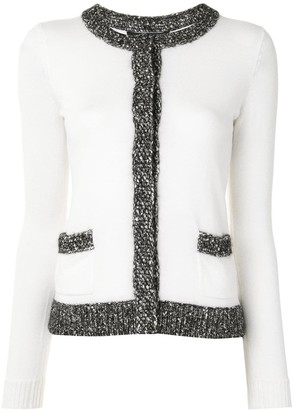 Paule Ka Crochet Piping Knitted Cardigan