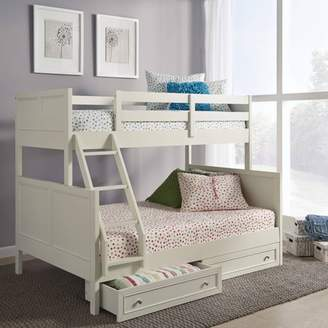 Off-White Home Styles Twin Over Full Naples Bunk bed with Storage Drawers