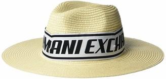 A|X Armani Exchange Women's Logo Tape Raffia Summer Hat