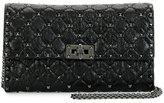 Valentino Rockstud Spike Matelasse Leather Shoulder Bag, Black