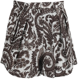 Rosie Assoulin Brown Paisley Pleated Asymmetrical Shorts