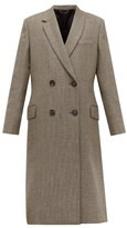 Fendi Double-breasted Bow-back Houndstooth Wool Coat - Womens - Grey Multi