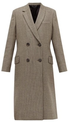 Fendi Double Breasted Bow Back Houndstooth Wool Coat - Womens - Grey Multi