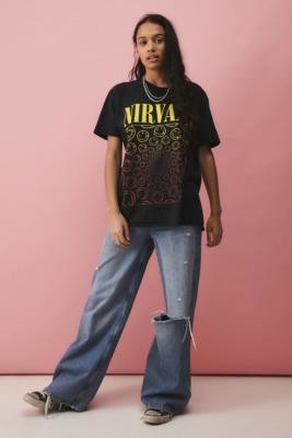 Daisy Street Black Washed Nirvana T-Shirt - Black XS at Urban Outfitters