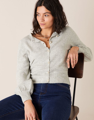 Monsoon Pearl Button Cropped Cardigan Grey