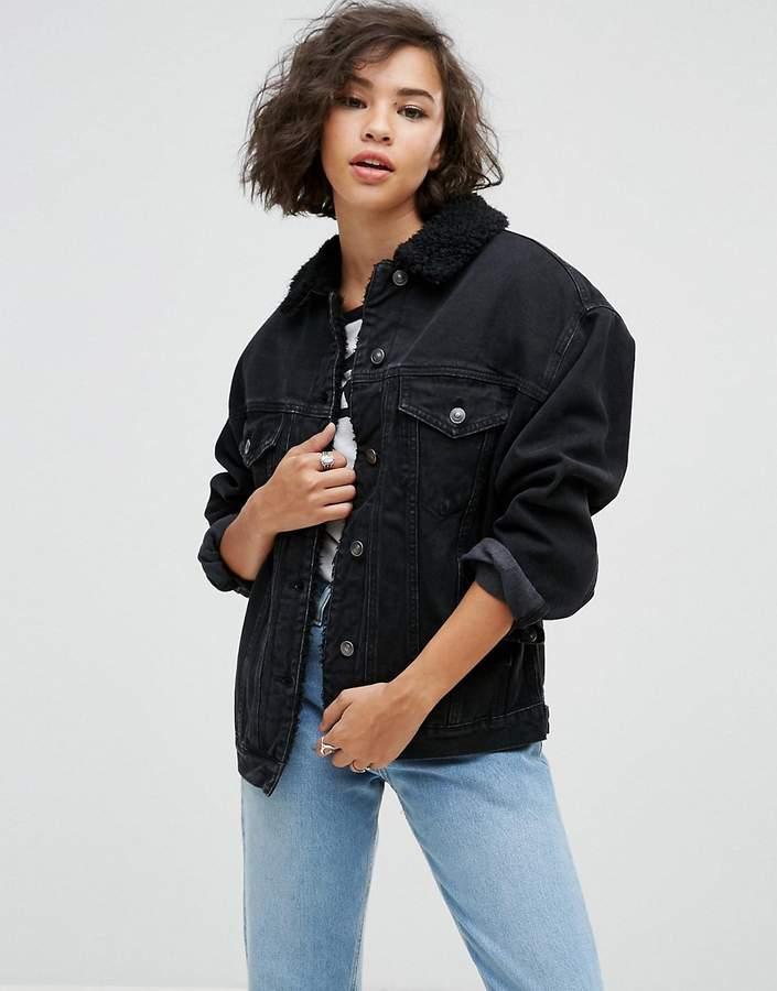 Asos DESIGN Denim Borg Jacket in Washed Black