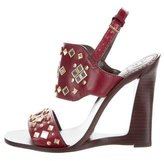 Tory Burch Embellished Leather Wedges