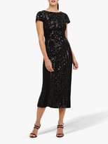 Phase Eight Embellished Malory Midi Dress, Black