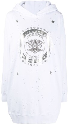 John Richmond Distressed Foil-Print Hoodie