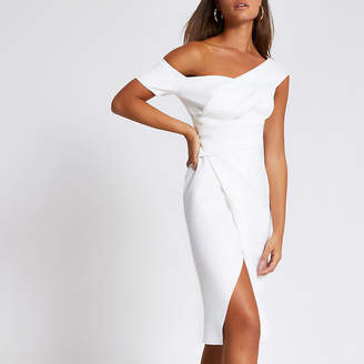 River Island White one shoulder wrap bodycon midi dress