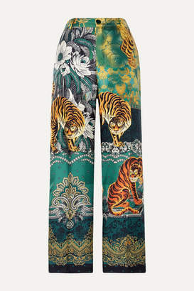 F.R.S For Restless Sleepers Printed Silk-twill Straight-leg Pants - Green