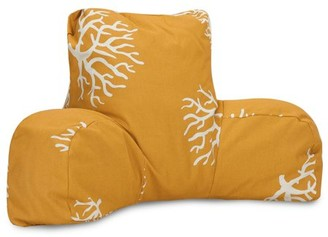 Majestic Home Goods Indoor Outdoor Yellow Coral Reading Pillow with Arms Backrest Back Support for Sitting 33 in L x 6 in W x 18 in H